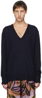 Dries Van Noten Navy Relaxed V-Neck Sweater