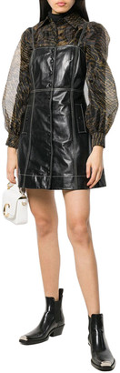 Ganni Button Front Leather Mini Dress