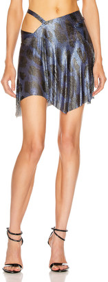 Fannie Schiavoni for FWRD Iza Mesh Skirt in Blue Leopard | FWRD