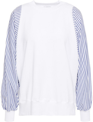Clu Striped Poplin-paneled Stretch Cotton And Modal-blend French Terry Top