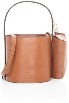 STAUD Bissett Lizard-Embossed Leather Bucket Bag