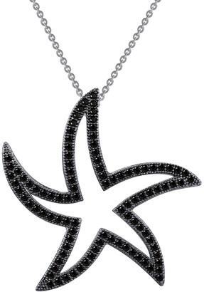 Lafonn Platinum Plated & Black Rhodium Plated Sterling Silver Pave Simulated Diamond Starfish Pendant Necklace