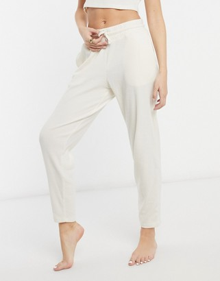 Chelsea Peers recycled poly ribbed lounge pants in beige