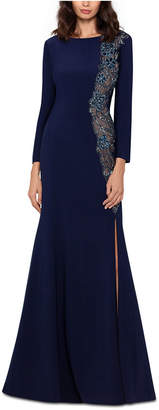 Xscape Evenings Embellished Illusion Slit Gown