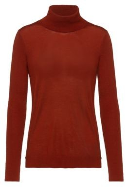 HUGO BOSS Regular Fit Sweater In Cashmere Touch Merino - Brown