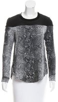 Rebecca Taylor Snakeskin Print Long Sleeve Top