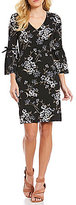 Jessica Howard Bell-Sleeve Velvet-Trim Floral Shift Dress