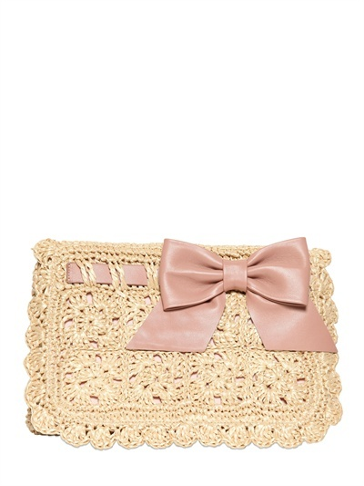 RED Valentino Crochet Raffia And Leather Clutch