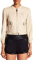 Doma Moto Cropped Jacket with Mini Belt