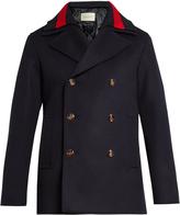 Gucci Detachable Web-collar wool pea coat