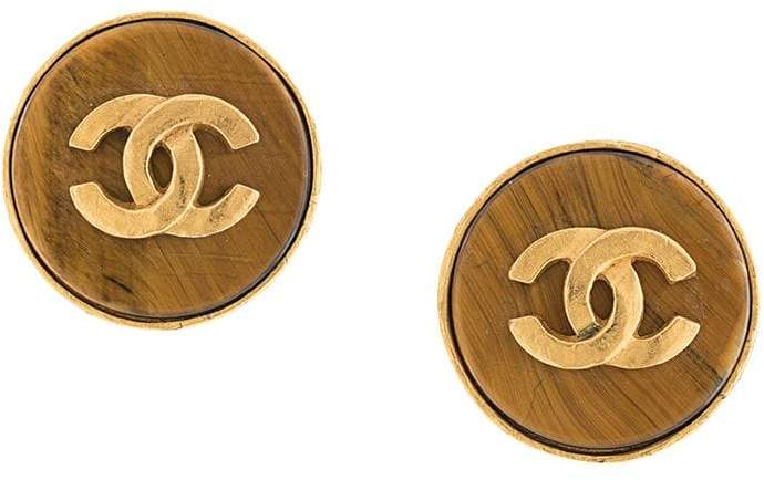 Chanel Pre-Owned 1995 button stone earrings