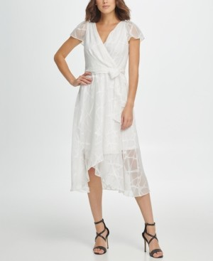 DKNY Flutter Sleeve V-Neck Wrap Midi Dress