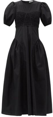 Cecilie Bahnsen Clementine Smocked-bodice Cotton-blend Dress - Black
