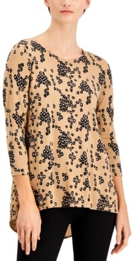Alfani Printed Woven-Back Knit Top, Created for Macy's