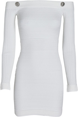 Balmain Off-The-Shoulder Ribbed Mini Dress