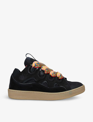 Lanvin Curb leather, suede and mesh low-top trainers