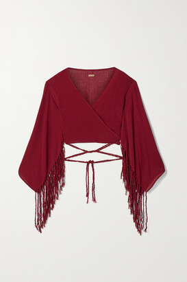 CARAVANA Net Sustain Naira Cropped Fringed Cotton-gauze Top - Claret