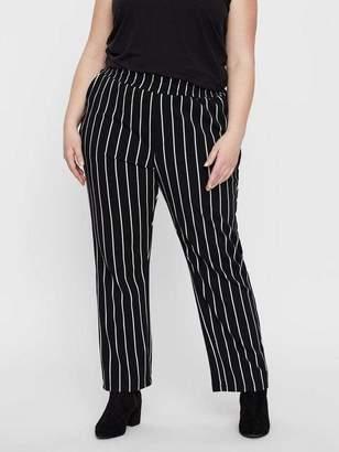 Junarose Loose Striped Jersey Pants in Snow White Size 3X