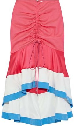 Prabal Gurung Ruched Satin-paneled Twill Skirt