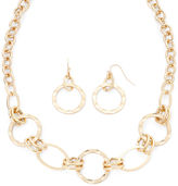 Liz Claiborne Hammered Gold-Tone Necklace and Earring Set