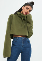 Missguided Khaki Cropped Extreme Sleeve Hoodie