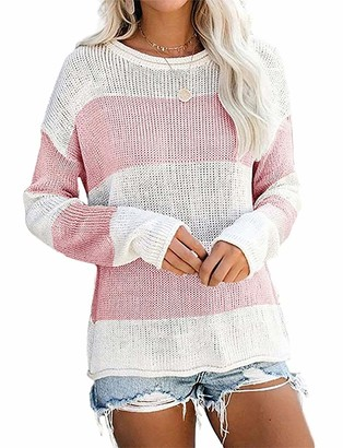 Yidarton Womens Color Block Jumpers Casual Striped Long Sleeve Sweater Crew Neck Knitted Pullover Tops (Pink XL)