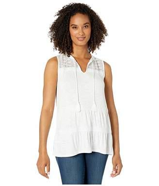 Wrangler Crochet Knit Sleeveless Top (White) Women's Clothing