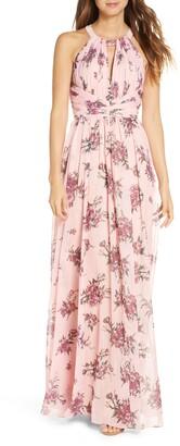 Marchesa Floral Metallic Chiffon A-Line Gown