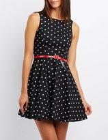Charlotte Russe Polka Dot Belted Skater Dress