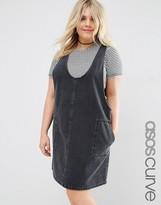 Asos Minimal Mini Pinafore Dress In Washed Black