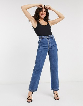 Levi's Ribcage straight leg utility jeans in mid wash blue
