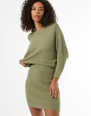 Miss Selfridge knitted mini skirt co-ord in khaki