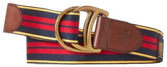 Polo Ralph Lauren D-Ring Striped & Leather Belt