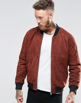 Asos Suede Bomber Jacket In Rust
