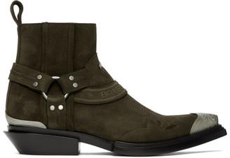 Balenciaga Brown Suede Harness Santiag Boots