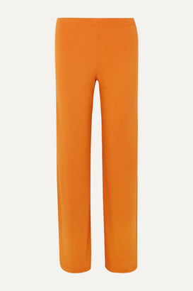 Leset French Terry Wide-leg Pants - Orange