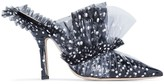 Midnight 00 black 105 tulle detail PVC-wrapped leather mules