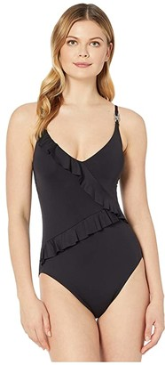 MICHAEL Michael Kors Iconic Solids Lingerie Ruffle One-Piece (Black) Women's Swimsuits One Piece