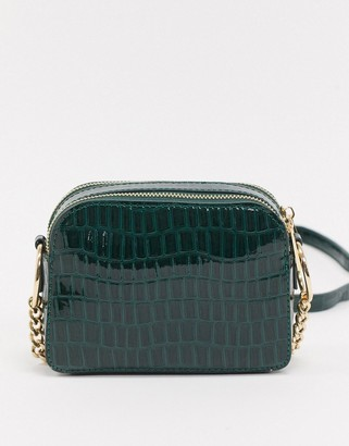 ASOS DESIGN camera bag with hardware in forest green croc