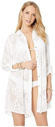 Lilly Pulitzer Natalie Cover-Up (Resort White Vertical Leaf Poly Crepe Clip Jacquard) Women's Swimwear