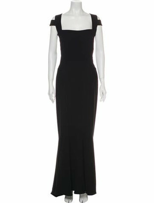 Narciso Rodriguez Square Neckline Long Dress Black