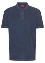 HUGO BOSS - Garment Dyed Polo Shirt In Recot2 Cotton - Dark Blue