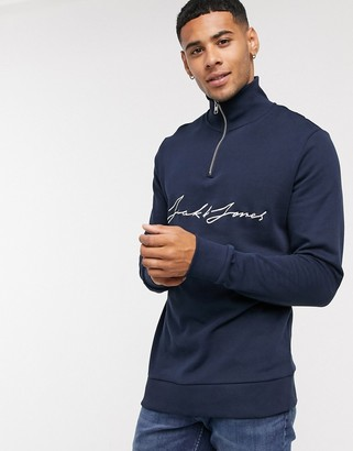 Jack and Jones quarter-zip sweat with front scripted text