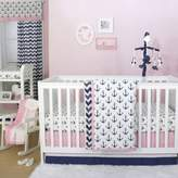 The Peanut Shell Anchor Crib Bedding Collection in Navy/Pink
