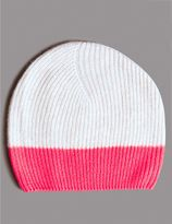Marks and Spencer Pure Cashmere Colour Block Beanie Hat