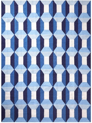 Jonathan Adler Blue Sorrento Reversible Peruvian Flat Weave Rug