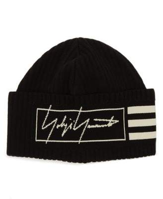 Y-3 Y 3 Logo-intarsia Ribbed Cotton-blend Beanie Hat - Mens - Black