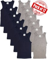 Andrew Scott Basics Boys 12 Pack Color A - Shirt Tank Top Undershirts (SMALL / (6-8), )