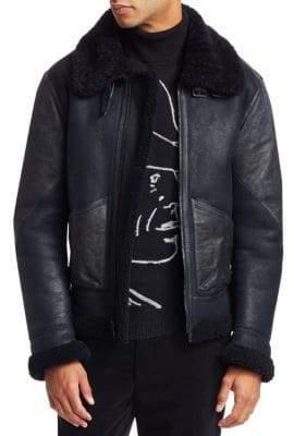 Ralph Lauren Purple Label Shearling Leather Flight Jacket