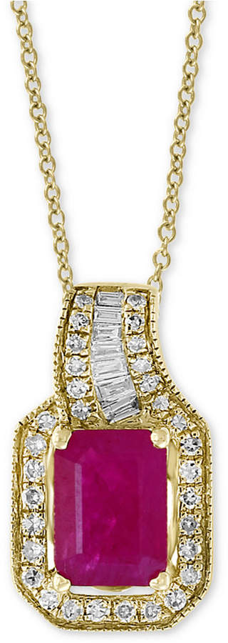 """Effy Amore by Certified Ruby (1 ct. t.w.) & Diamond (1/5 ct. t.w.) 18"""" Pendant Necklace in 14k Gold"""